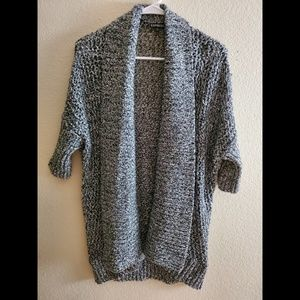 Express Large Gray Chunky Open Front Cardigan